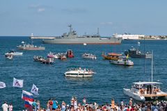 Sevastopol, Ukraine - July 31, 2011: The military ship. General Ryabikov in the sea. Day of the Navy. Horizontally framed shot Stock Photo