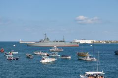 Sevastopol, Ukraine - July 31, 2011: The military ship. General Ryabikov in the sea. Day of the Navy. Horizontally framed shot royalty free stock photos