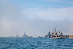 SEVASTOPOL, UKRAINE -- MAY 2013:  modern warships in the parade Stock Image