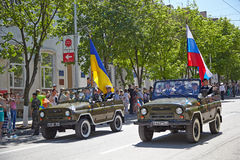 SEVASTOPOL, UKRAINE -- MAY 9: Victory Parade. Royalty Free Stock Images