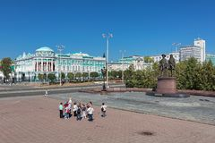 Sevastyanov`s House and monument to the city`s founders in Yekaterinburg, Russia Royalty Free Stock Images