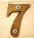 Seven. Antique looking number 7, retro style Stock Images