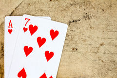 Seven and ace of hearts Stock Photo