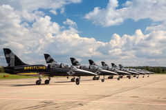 Seven airplanes from Breitling Jet Team Royalty Free Stock Images