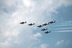 Seven Airplanes Royalty Free Stock Photography