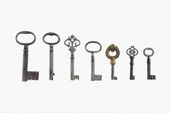 Seven Antique Pipe Keys stock photo
