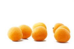 Seven apricots. Seven orange apricots on white background stock photography