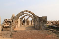 The Seven Arches. Saat Kaman is located on the edge of a hill on the southern side of Champaner Pavagadh. Saat Kaman means seven arches, though only 6 arches are stock images