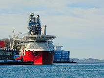 `Seven Arctic` heavy construction vessel moored in Stavanger harbor royalty free stock photography