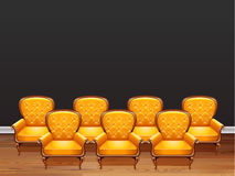 Seven armchairs with yellow leather. Illustration Royalty Free Stock Photo