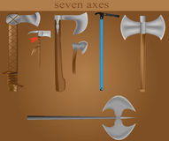 Seven axes Stock Photography