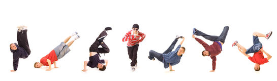 Seven b-boys. Isolated on white Royalty Free Stock Image