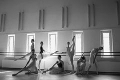 The seven ballerinas at ballet bar Stock Images