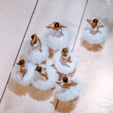 The seven ballerinas on floor Royalty Free Stock Photo