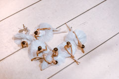 The seven ballerinas on floor Stock Photo