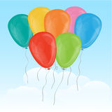 Seven Balloons. In sky with clouds Stock Images