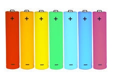 Seven batteries of different colors Royalty Free Stock Photos