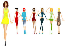 Seven beautiful girls in different clothes. Vector illustration Stock Photo