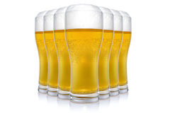 Seven beer glasses Stock Images