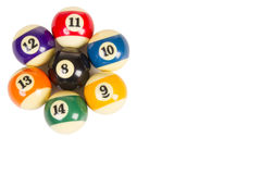 Seven billiard balls arranged in the shape of a flower. Nobody Royalty Free Stock Images