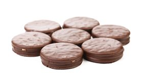 Seven biscuit sandwich with chocolate. Royalty Free Stock Image