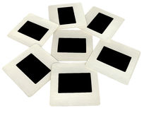 Seven black slides with white frames, lightbox. Heap of black slides with white frames, lightbox. New advertise concept Royalty Free Stock Photos