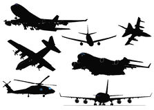 Seven black and white Airplane silhouettes Stock Image