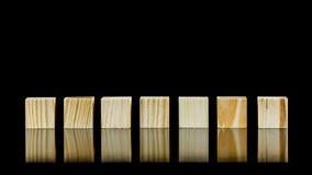 Seven blank wooden blocks Stock Photography