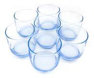 Seven Blue Glasses Stock Photo