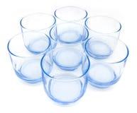 Seven Blue Glasses Stock Photo