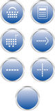 Seven blue web buttons (e-commerce) Stock Photo