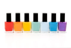 Seven bottles of nail varnish. On a white background Stock Photo
