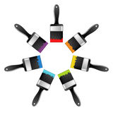 Seven brush with different colors Stock Images