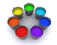 Seven buckets of paint Royalty Free Stock Photo