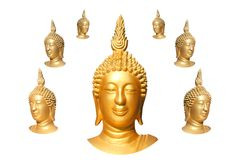 seven buddha faces Stock Images