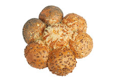 Seven buns with different seeds Stock Photos