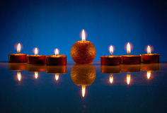 Seven burning candles Royalty Free Stock Photos