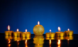 Seven burning candles Royalty Free Stock Photo