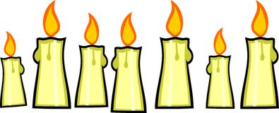 Seven burning candles Stock Photos