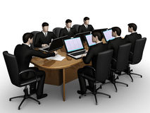 Seven businessmans work Stock Photo