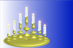 Seven candles in blue Stock Photography