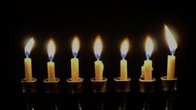 Seven candles in menorah closeup stock footage