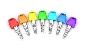 Seven car keys Stock Images