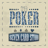 Seven card stud poker game retro background for vintage design Stock Photography