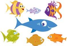 Seven cartoon fish Royalty Free Stock Photo