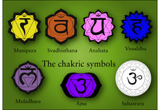 The seven chakra symbols Stock Photo