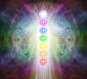 The Seven Chakra Vortexes in a Pranic Energy Field Stock Images