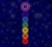 The seven chakras. Illustration containing the seven chakric symbols Royalty Free Stock Photography