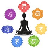 Seven chakras. Man silhouette in yoga position with the symbols of seven chakras Stock Images