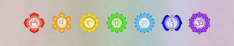 The seven chakras banner Royalty Free Stock Photography